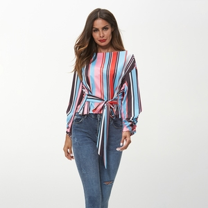 TOM10122 Autumn New Design Colorful Stripe Pattern Women'S T-Shirts In Stock Top Women With Bow Blouse
