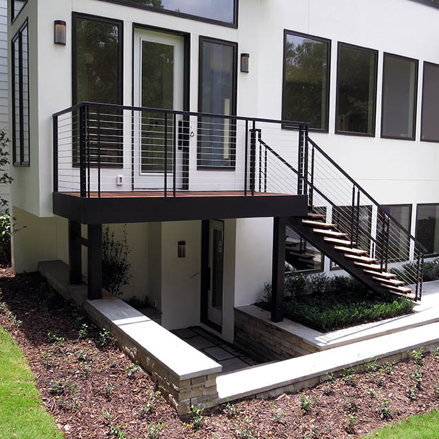 Outdoor staircase with metal handrails
