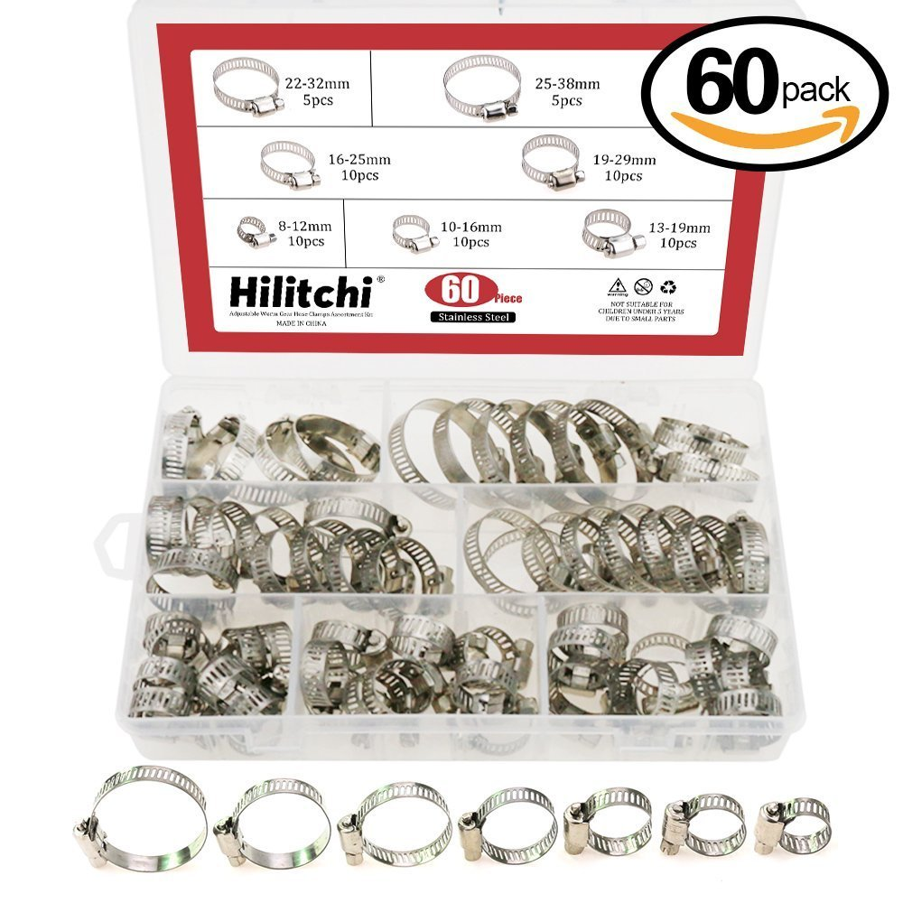 Hilitchi 60 Piece Adjustable 8-38mm Range Stainless Steel Worm Gear Hose Clamps Assortment Kit
