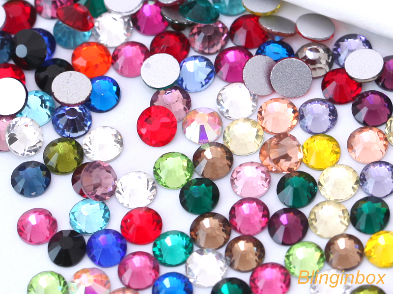 Free samples!Over 60 colors available ss3 to ss50 Factory wholesale nail art non hot fix rhinestone for DIY