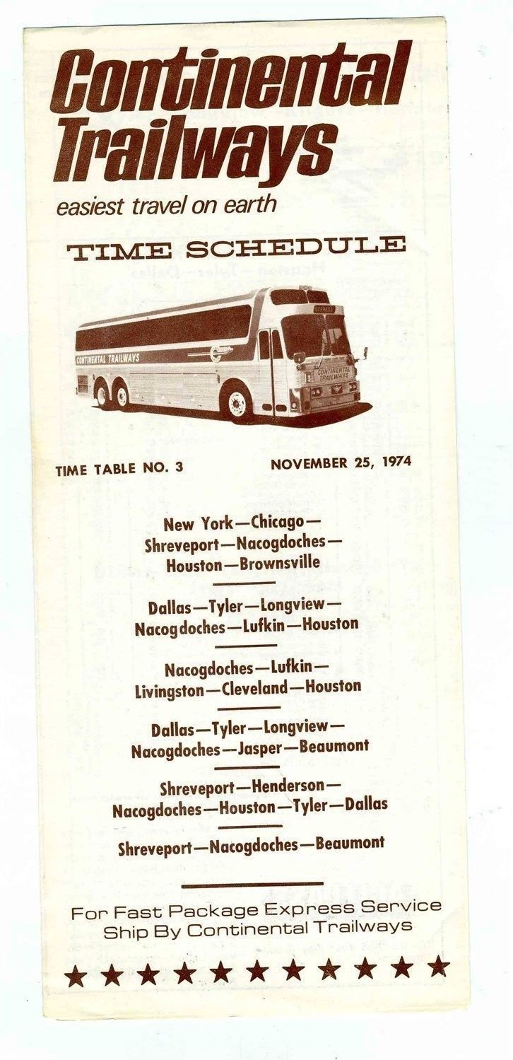 Continental Trailways Bus Timetable 1974 New York Chicago Dallas Shreveport