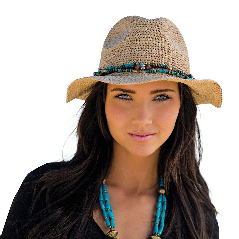 b769c8f3 Get Quotations · Womens Fedora Bora Bora Womens Sun, Beach Hat (Natural)