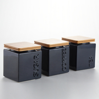 Glossy glazed ceramic tea sugar coffee canisters with bamboo lid