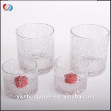 Handblown Clear Crack Glass Candle Holders For Tealight Wholesale Glass Tube Glass Candle Holder