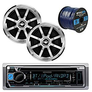 "Kenwood KMR-D365BT MP3/USB/AUX Bluetooth Marine Boat Yacht Stereo Receiver CD Player Bundle Combo W/ 2x Jensen MSX60CPR 6.5"" Inch 2-Way Coaxial Speakers + Enrock 50 Foot 16g Speaker Wire"