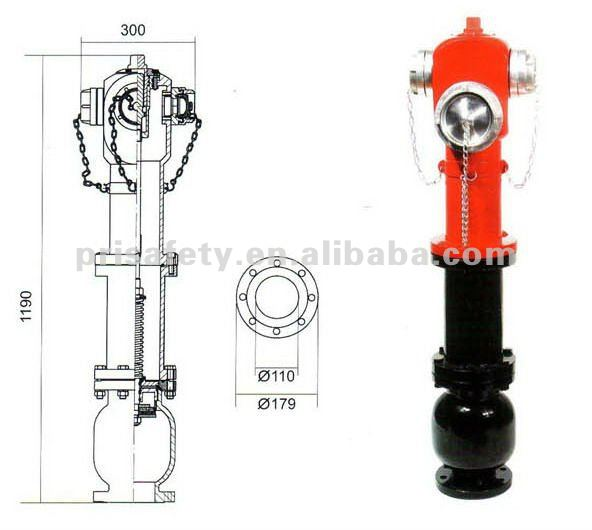 3 Way pillar fire water hydrant DN100
