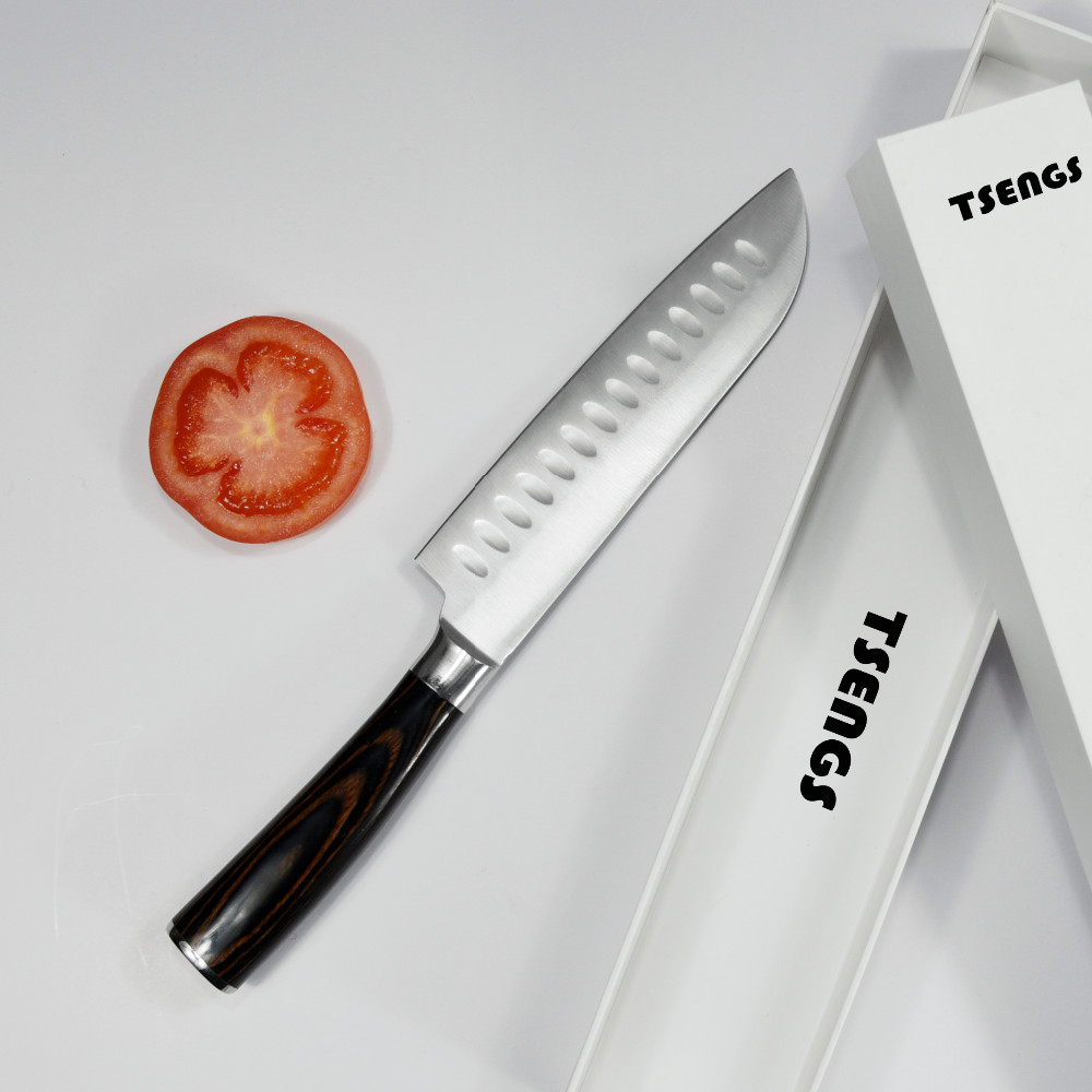 stainless steel 3cr13 7 inch santoku chef knife with full tang handle buy s. Black Bedroom Furniture Sets. Home Design Ideas