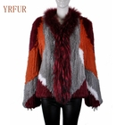 YR940 Latest Design Style Raccoon Trim and Knitted Rabbit Fur Coat