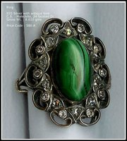 Malachite ring with 925 silver