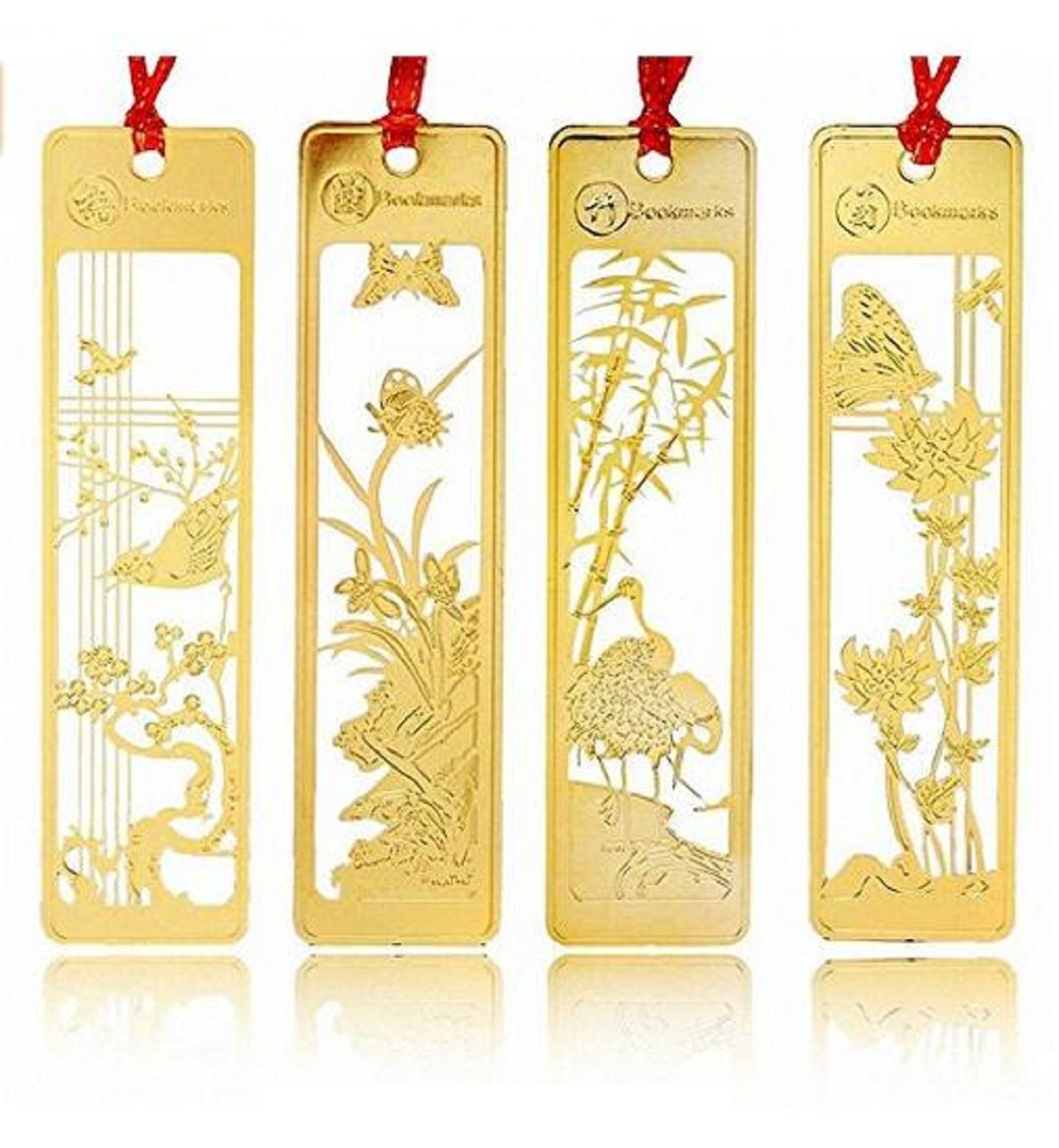 Wendin Chinese Style Metal flower Bookmarks 4 Pcs delicacy Golden Hollow Mini Creative Book Mark,Plum flower(mei),Orchid (lan),Bamboo(zhu),Chrysanthemum (ju)