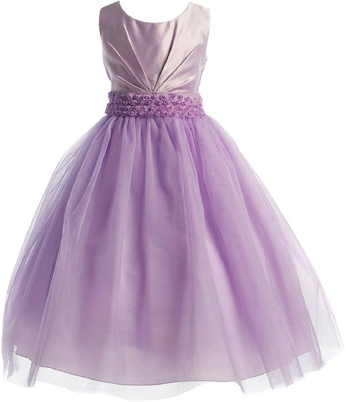 45506ebcd5697 Get Quotations · Dreamer P Little Girls Pleated Satin Bodice Rosette Waist Flowers  Girls Dresses