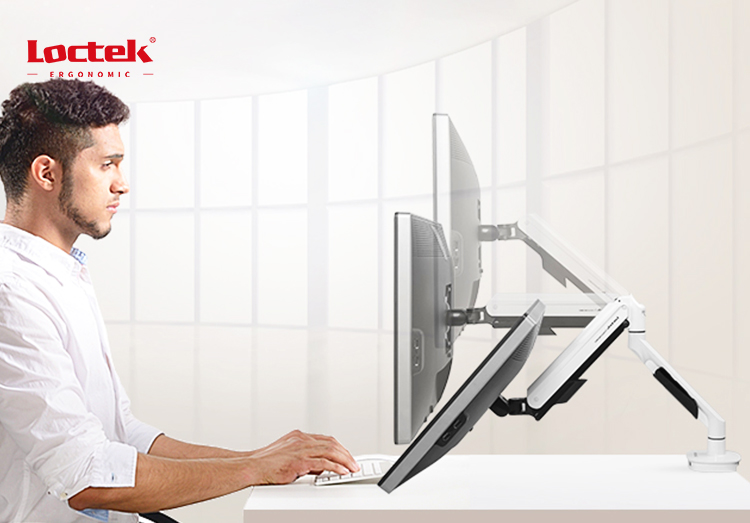 LOCTEK DLB560 Full Motion Desk Mount with Mount and Gas Spring for LCD Computer Monitors 17'' - 30""