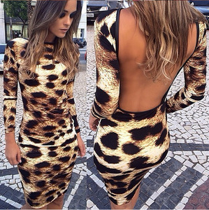 Wholesale cheap Clubwear women dresses sexy mini bodycon leopard printed sexy backless dresses