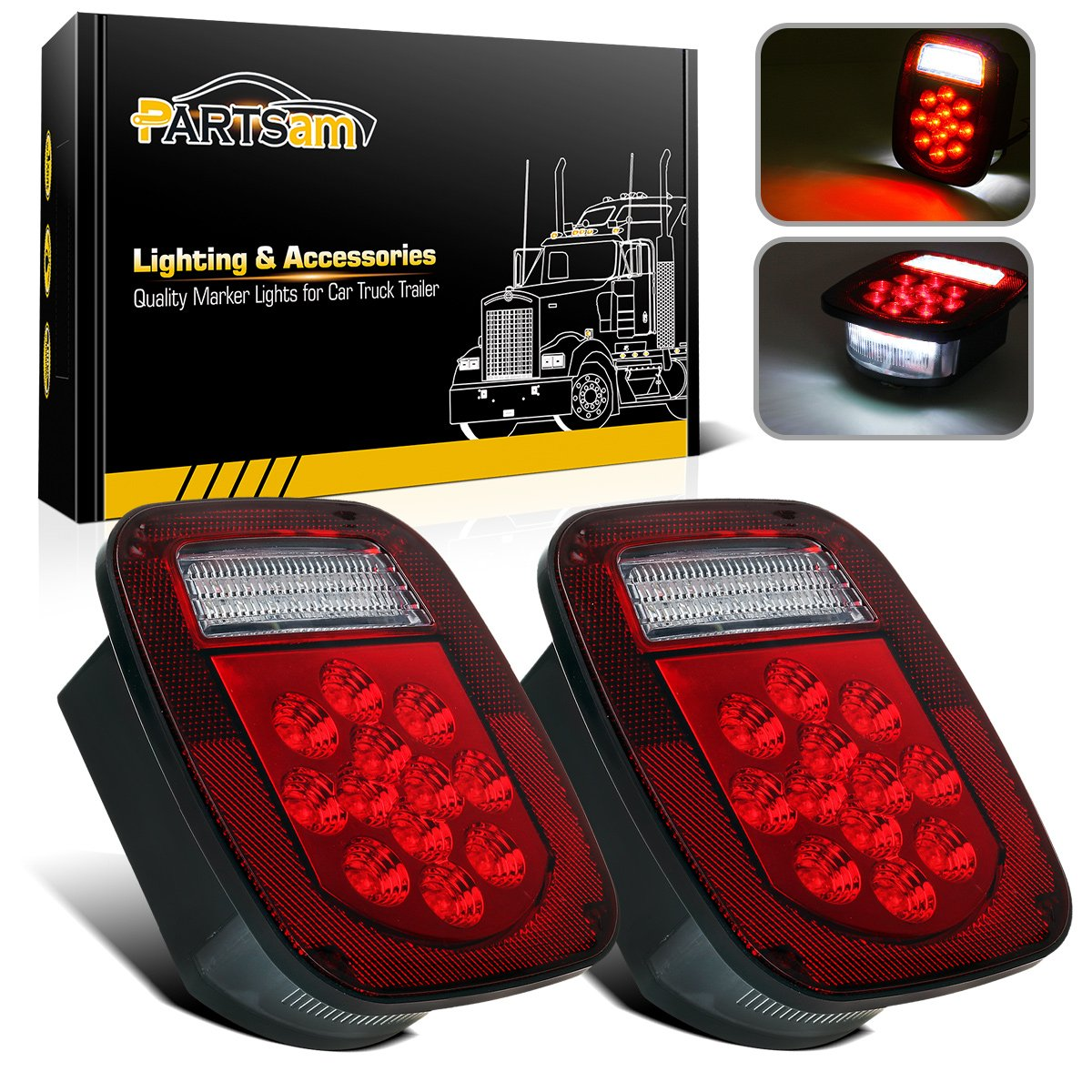 Partsam 2x Red / White 39LED Stop Turn Tail Stud Lights for Truck Trailer Boat RV Jeep TJ CJ YJ JK