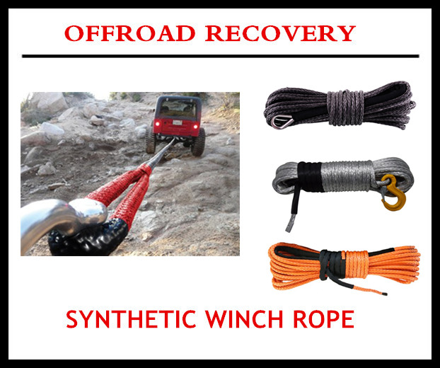 winch rope synthetic 4x4 winch rope with hook thimble sleeve packed as full set