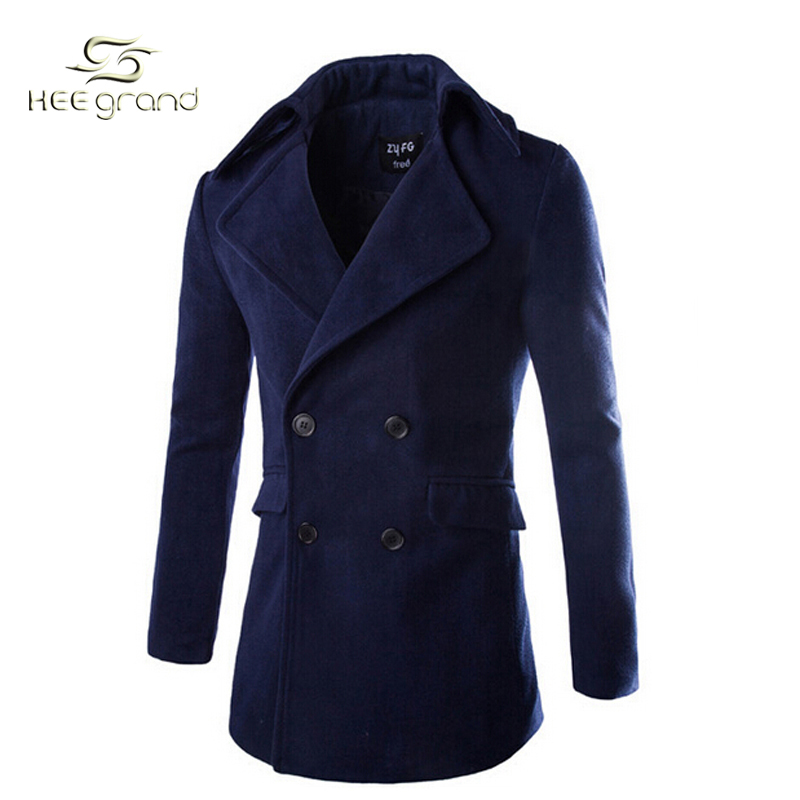 526ad09941b Get Quotations · Classic Style Winter Men s Pea Coat 2015 Fashion Solid Pea  Coat Military Wool Blends Simple Wool