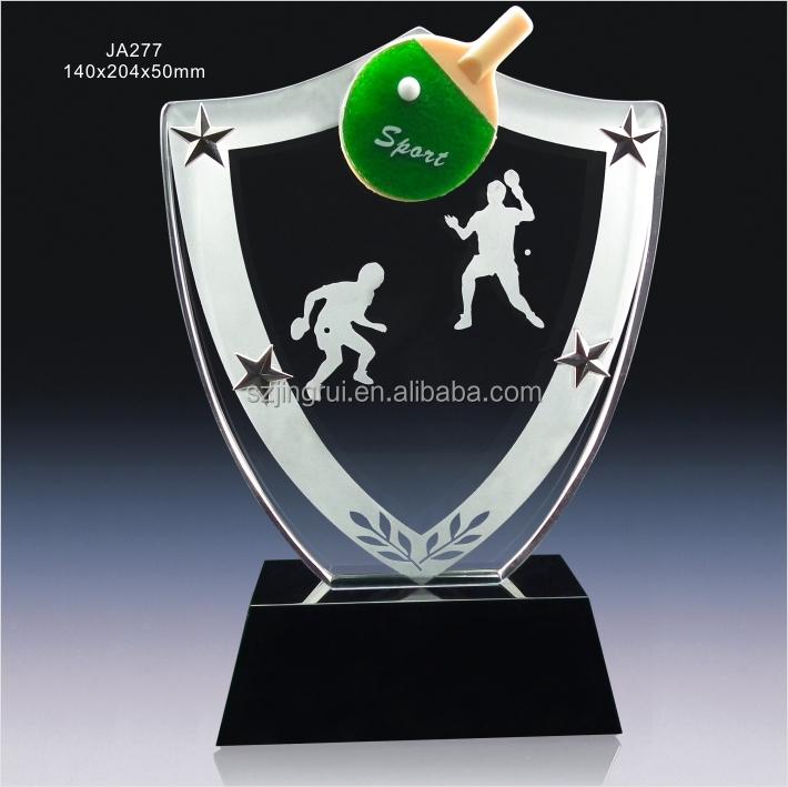 Custom Design Music Shield Shape Crystal Glass Award Trophy