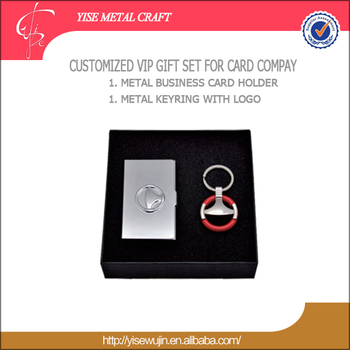Luxury Business Executive Office Gifts Iron Stainless Steel Corporate For Men Card Holder Keyring