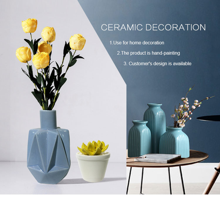 Top Seller Showpieces For Home Decoration Gray Ceramic 3d Flower
