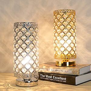 Crystal Table Lamp Decorative Room Reading Lamp for Bedroom, Living room Silver