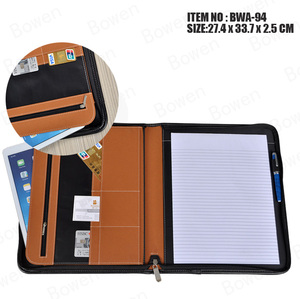 Custom Logo Printed Handmade Pad Folio Bonded Leather A4 Padfolio With Notepad Compartment
