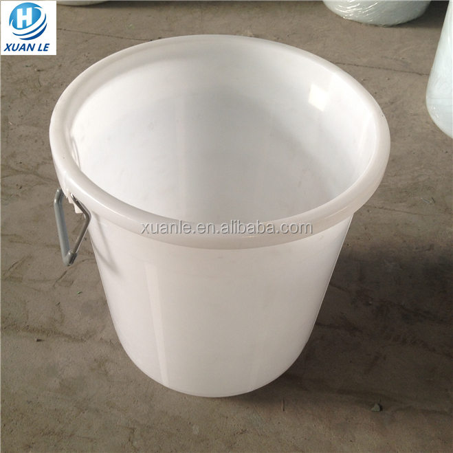 Open top 50 liter plastic bucket with a lid