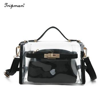 a56492a7397b Clear Crossbody Messenger Shoulder Bag Travel Transparent Purse Jelly Bag  For Women Work Bags Composite Bag