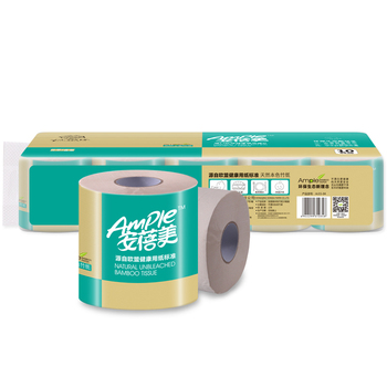 Soft Unbleached Bamboo Toilet Roll Tissue Paper 4 Ply Hemp