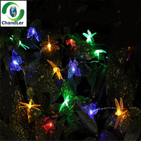 20led Outdoor Solar String Lights Butterfly Dragonfly Garden Light ...