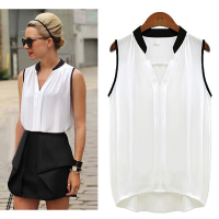 Korean Chiffon Blouse Designs Ladies Sleeveless Plain Simple Chiffon Style Blouse