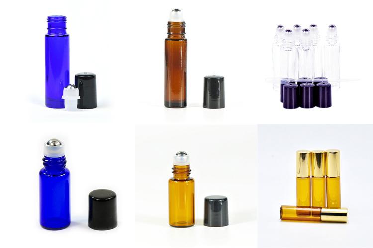 Ätherisches öl parfüm 10 ml klaren blauen bernstein glas rolle auf flaschen mit roller edelstahl ball