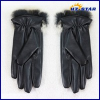 HZS-13048005 New style high wearing importers real rabbit women leather gloves