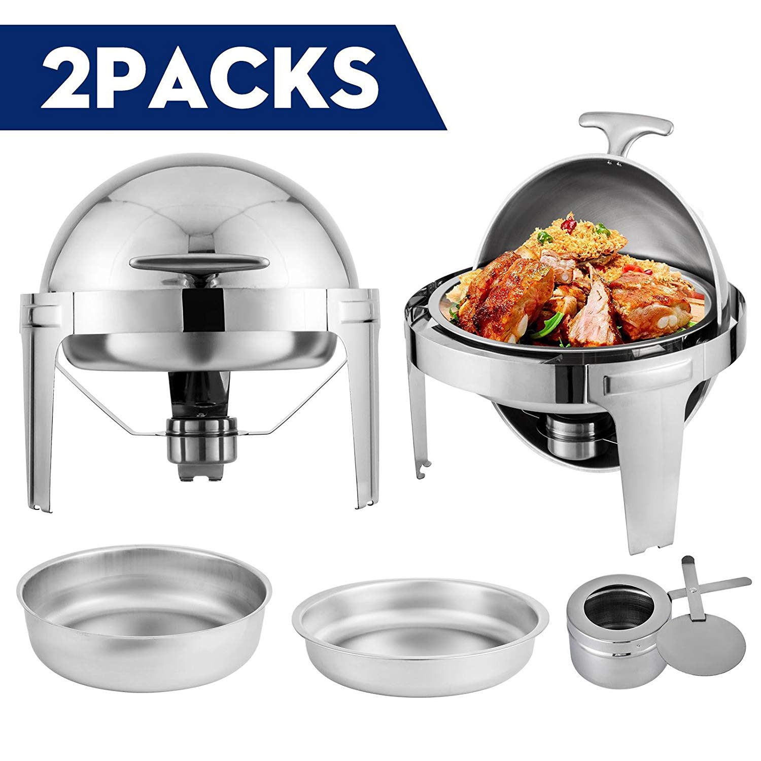 Happibuy 2 Packs Stainless Steel Chafing Dish 6 Quart Round Chafer Roll Top Chafer for Catering Buffet Warmer Set with Pans and Fuel Holders (2 Packs Stainless Steel Chafing Dish)