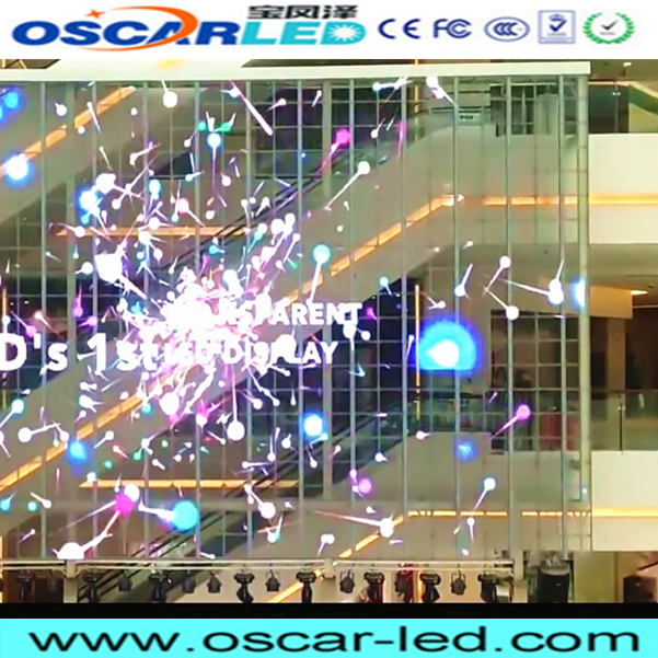 transparent glass led display screen outdoor electronic window curtain led rgb glass see through led display transparent led