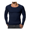 Wholesale custom man slimming suit knit crew neck long sleeves slim fit soft t shirts