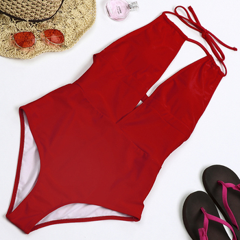 Latest Design Low Back Red Swimwear Sexy One Piece Swimsuit For Women