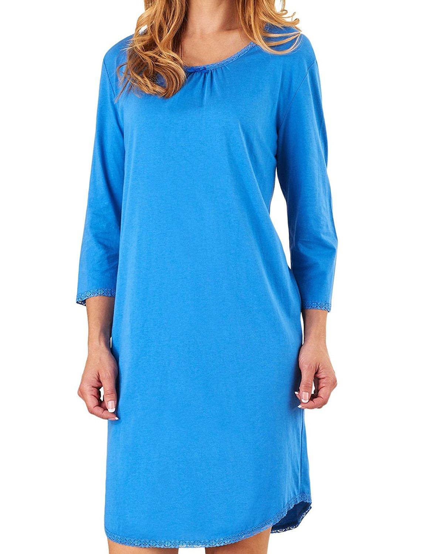 c4efbd4ea4 Get Quotations · Ladies Slenderella 100% Jersey Cotton Plain Nightdress 3 4  Sleeved Lace Trim Nightie (