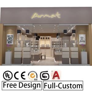 Mini Jewelry Bangle Showcase Table LED Wall Display Corner Round Modern Glass Cabinet Case Sale Ideas Shopping Mall Kiosk