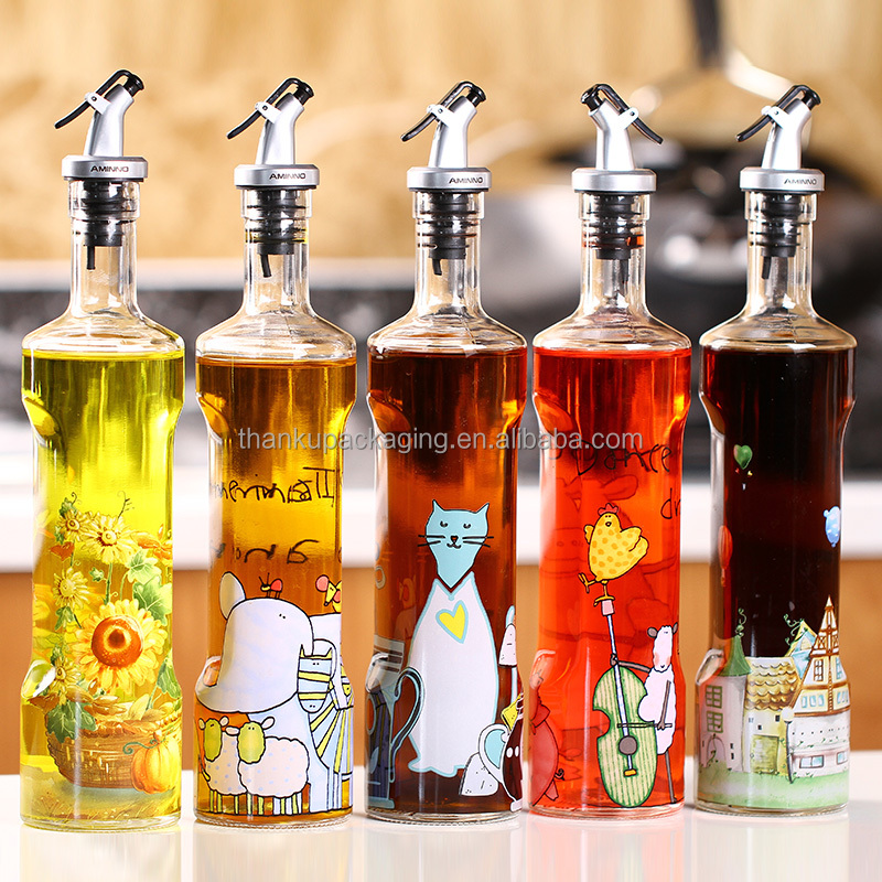 Custom creative carton logo cooking oil soy sauce glass dispenser