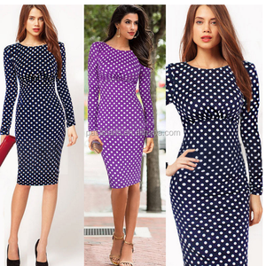 AL1044W Fashion wave point pencil vintage dress women office dress