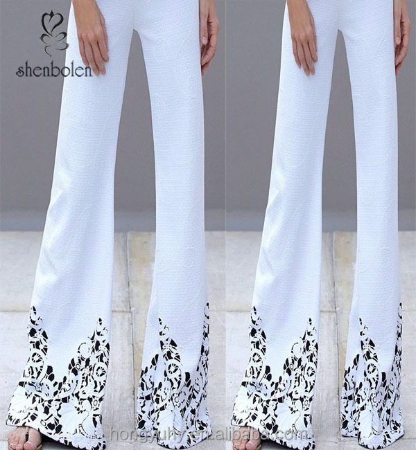 M40636 latest design women high elastic waist wide leg pants bell dance pants white for ladies wholesale