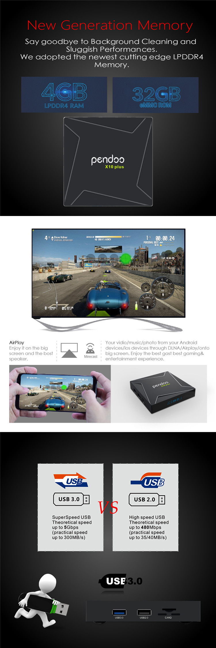 Quad Core Android 8.1 tv box pendoo x10  pendoo X10 plus S905X2 4g 32g KD player tv box android 8.1 smart set top box for moving