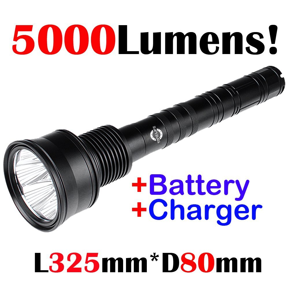 Tonelife 7xCree U2 led 5000Lumens Tactical Torches High Power Bright Military & Police Flashlight used by Law Enforcement Use 3pcs 26650 Li-ion Rechargeable Battery 5 Modes(With 3Batteries+2Charger)
