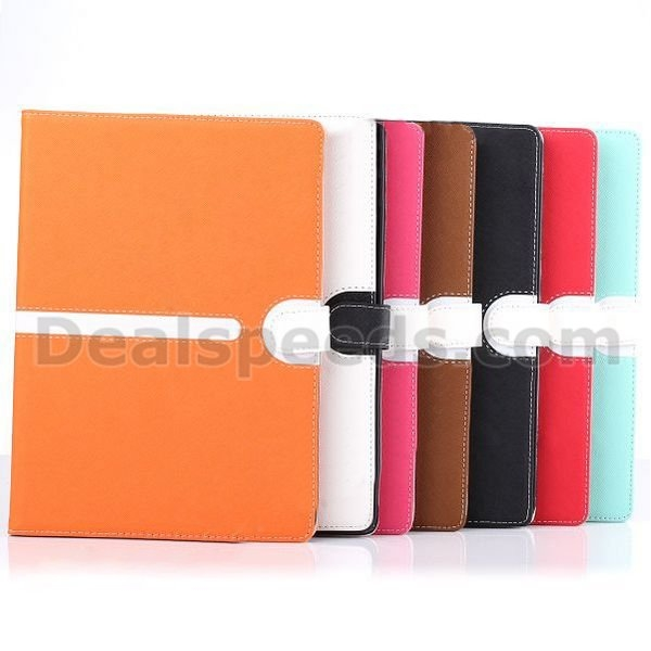 New Design Cross Texture Pattern Wallet Style Flip Stand PC+PU Leather Case for iPad 6