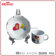 Heart & duck printed children melamine bowl and mugs China factpry supplier kids dinner set