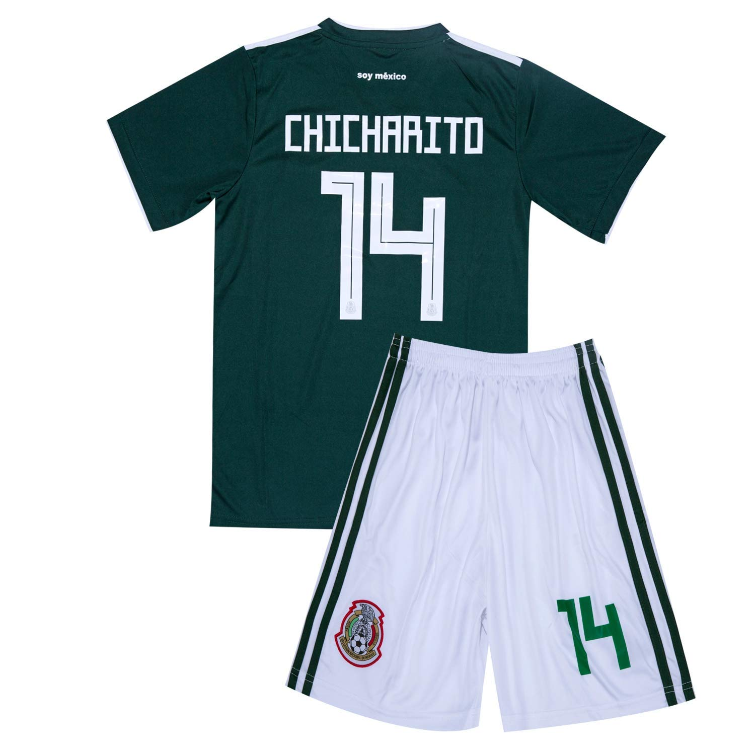 e0ea4ed40 Get Quotations · 2017-2018 Mexico National Team  14 CHICHARITO Home Youth Soccer  Jersey   Shorts Green