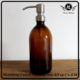 16oz 500ml amber syrup glass soap dispenser bottle with stainless steel lotion pump