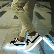 Free Shipping 8 Colors LED Luminous Shoes 2015 Men&Women Flats USB Charging Colorful LED lights Shoes Hombre Mujer Size35-44