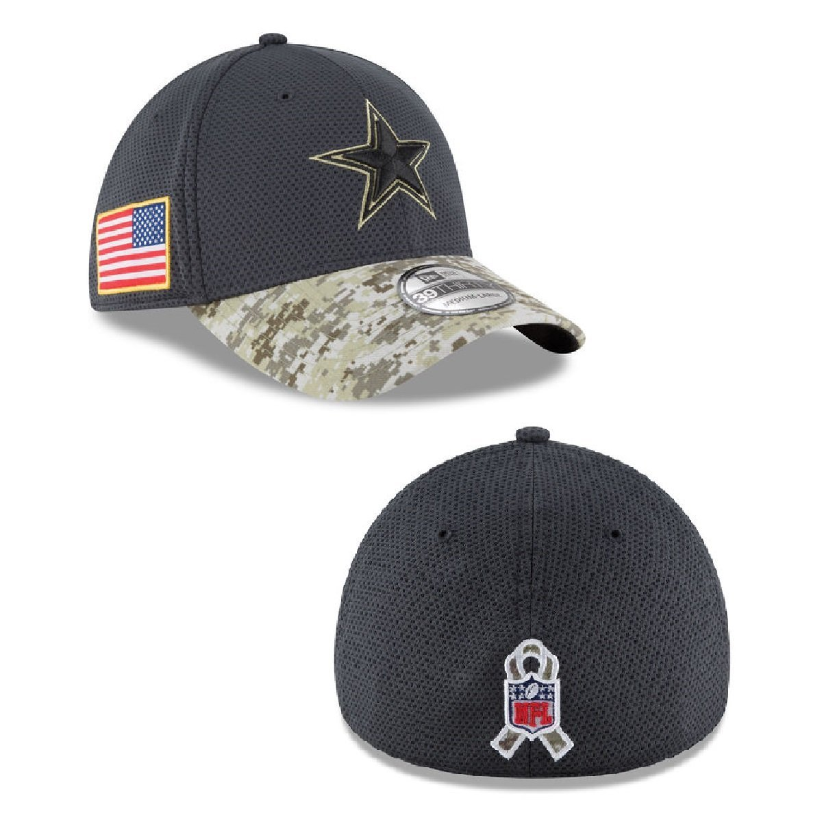 574c3a660c2 Get Quotations · New Era 39Thrity Hat NFL 2016 Dallas Cowboys Salute To  Service Official Gray Flex Cap