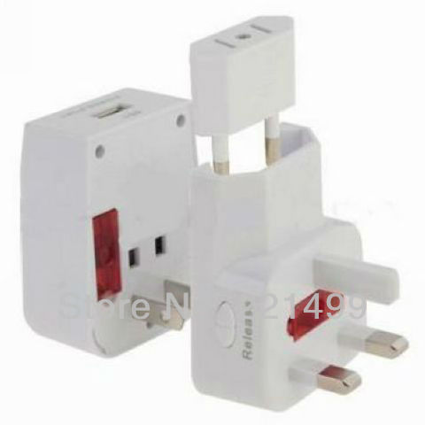 [FREE SHIPPING/EPACKET!] WHOLESALE 5pcs/lot High Quality Worldwide USB Universal Travel Adapter Plug AU/UK/US/EU